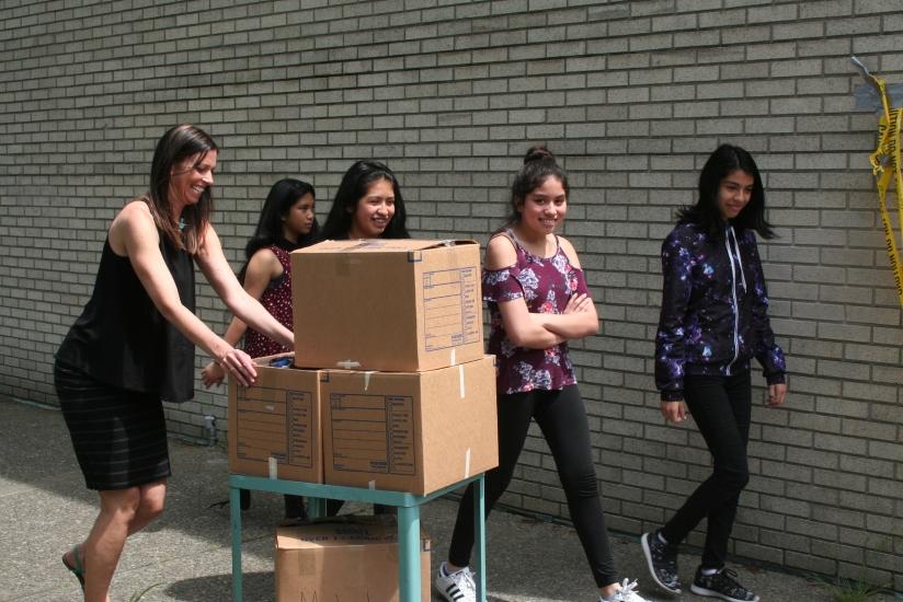 moving boxes outside